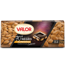 Foto principal 70% dark chocolate with whole almonds Valor 250 gr.