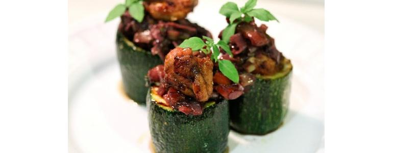 courgettes stuffed with ratatouille chicken tenderloins and Mencia.