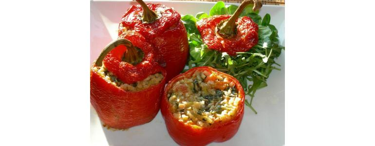 Stuffed peppers with basil